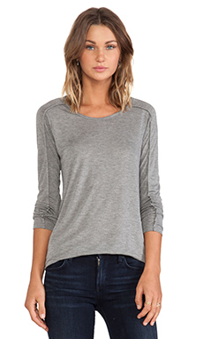 Vince Long Sleeve Seamed Tee in Dark Heather Grey
