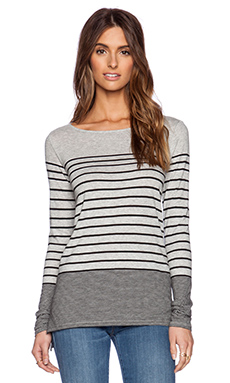 Vince Breton Stripe Boatneck Tee in Heather Grey & Black