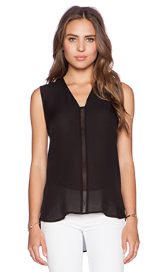 Vince Mesh Inset Tank in Black
