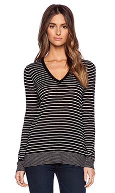 Vince Mini Stripe Tee in Black & Heather Steel