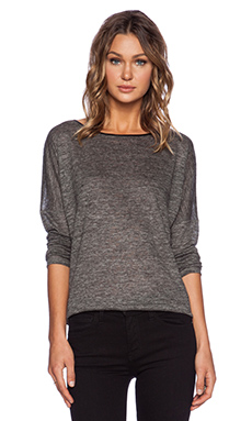 Vince Drop Shoulder Detail Tee in Heather Charcoal