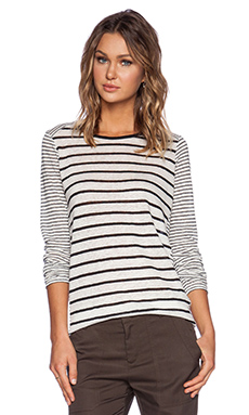 Vince Mixed Stripe Long Sleeve Tee in Chalk & Bone