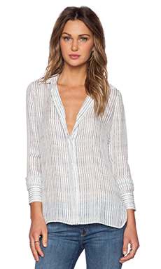 Vince Blurred Line Button Down in White & Coastal