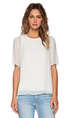 Vince Sheer Overlay Blouse in Off White