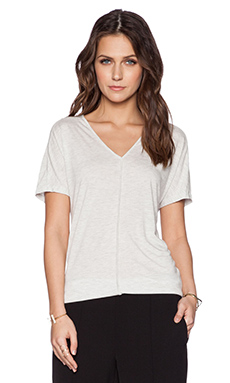 Vince Drape Neck Tee in Heather White