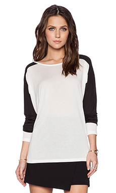 Vince Colorblock Dolman Tee in Off White & Black