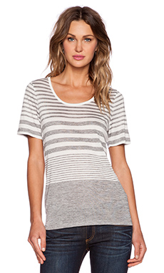 Vince Striped Tee in Off White & Heather Slate