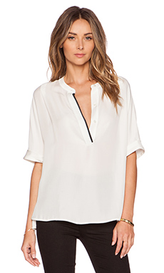 Vince Cap Sleeve Blouse in Off White & Coastal
