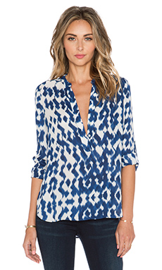 Vince Ikat Blouse in Ink & Off White