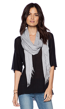 Vince Fringed Scarf in Light Heather Grey