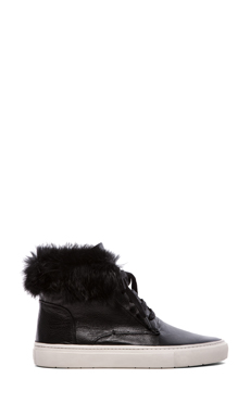 Vince Nyack Sneaker with Rabbit Fur Trim in Black