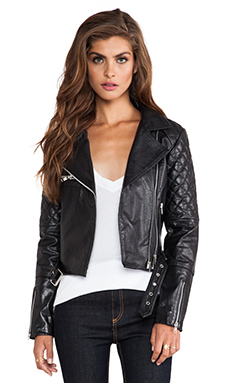 Viparo Alexei Quilted Biker Jacket in Black