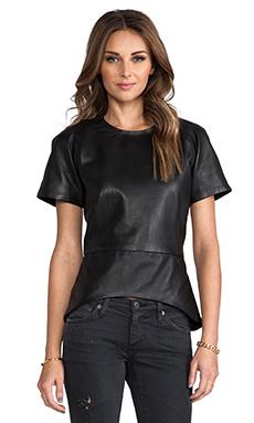 Viparo Bambi Leather Peplum Top in Black