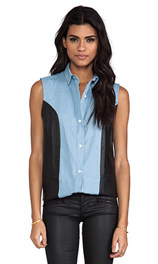 Viparo Chambray Leather Sleeveless Shirt in Blue