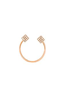 Vita Fede Ultra Mini Double Cubo Ring in Rosegold & Clear