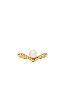 Vita Fede V Crystal & Pearl Ring in Gold
