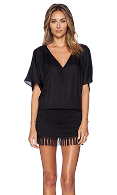 Sofia by Vix Swimwear Fringe Caftan en Solid Black