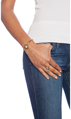 Vanessa Mooney The Empire Ring-To-Wrist Cuff in Gold