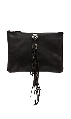 Vanessa Mooney Concho & Fringe Clutch in Black Crome