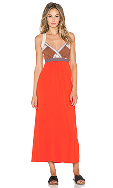 VPL Insertion Wide Maxi Dress in Fiery Red