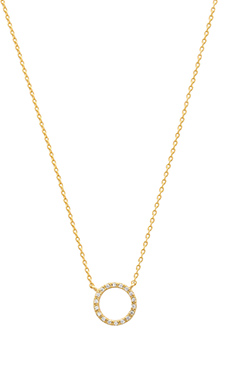 Wanderlust + Co Crystal Frame Necklace in Gold