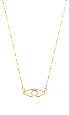 Wanderlust + Co Evil Eye Necklace in Gold
