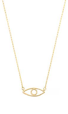 Wanderlust + Co Evil Eye Necklace in Gold