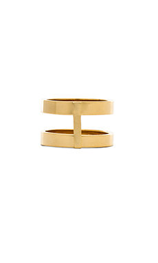 Wanderlust + Co Double Bar Ring in Gold