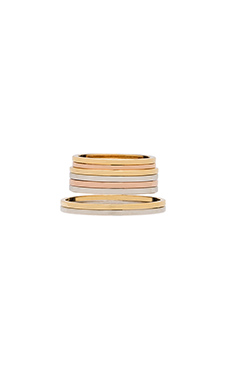 Wanderlust + Co Mixed Metal Ring Set in Gold & Rose Gold & Silver