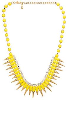 Wanderlust + Co Multi Spike Bib Necklace in Yellow
