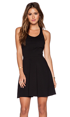 WAYF Fit & Flare Dress in Solid Black
