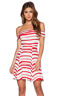 WAYF Off Shoulder Dress in Red & White Stripe