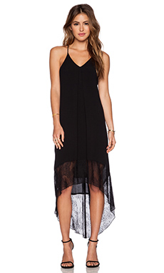 WAYF Lace Border Maxi Dress in Black