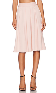 WAYF Pleated Midi Skirt in Pink Texture