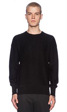 wings + horns Micro Tweed Crewneck Sweater in Black