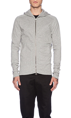 wings + horns Base Full Zip Hooded Sweater in Heather Grey