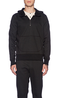 wings + horns Coated Terry Pullover Hooded Sweater in Black
