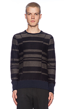 wings + horns Dusk Stripe Terry Crewneck in Navy/Charcoal Melange