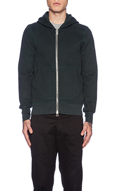 wings + horns Double Brushed Fleece Hooded Sweater in Evergreen