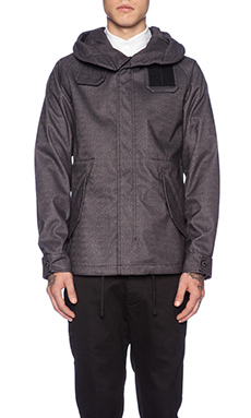 wings + horns Herringbone Short Parka in Charcoal