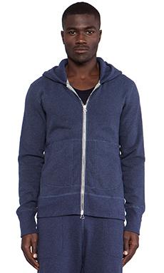 wings + horns Terry Hooded Sweater in Blue Melange