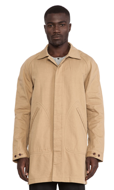 wings + horns Shrunken Twill Mac Coat in Khaki