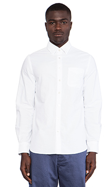 wings + horns Long Sleeve Sashiko Button Down in White