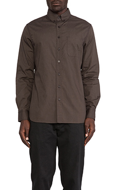 wings + horns Reversed Foliage Print Poplin Button Down in Overdyed Charcoal