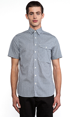 wings + horns Quill Print Fisherman Shirt in Natural & Navy