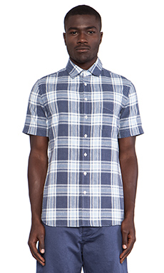 wings + horns Short Sleeve Sashiko Plaid Shirt in Natural & Navy