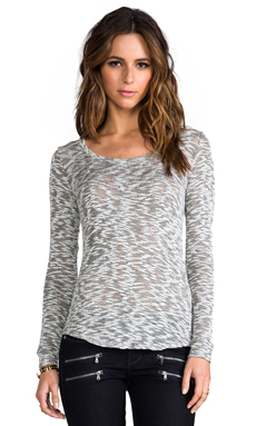 Whetherly Sheer Boucle Rosewood Long Sleeve Tee in Black/White
