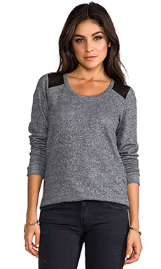 Whetherly Rosario Mesh Long Sleeve Tee in Charcoal/Black