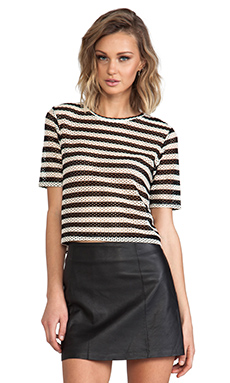 Whetherly Net Stripe Kaliko Tee in Black & White