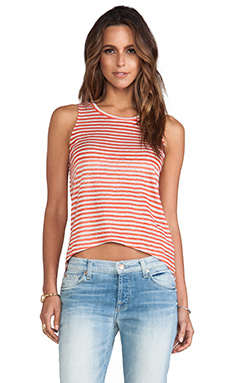 Whetherly Linen Stripe Sabrina Tank in Tomato